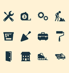 building icons set with house construction works vector image