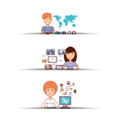 Business people with social media icons vector