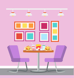 cafe restaurant interior table with fast food vector image
