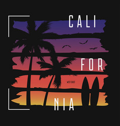 California t-shirt typography with color gradient vector