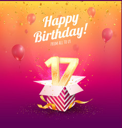 celebrating 17 th years birthday vector image