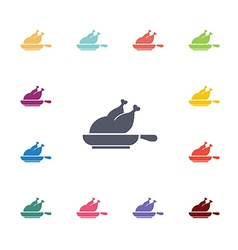 chicken grill flat icons set vector image