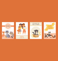Children with pets adopt friendship cards vector