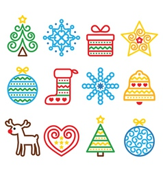 Christmas icons with stroke - Xmas tree present vector image