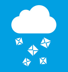 Cloud and hail icon white vector