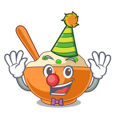 Clown mashed potato above in cartoon plate vector