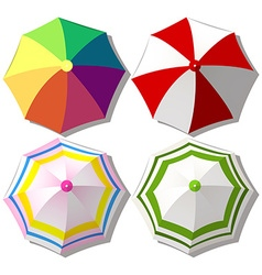 Colorful umbrellas on white vector