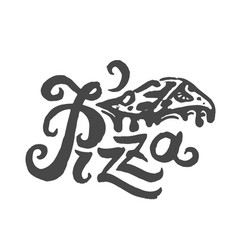concept of pizza lettering vector image