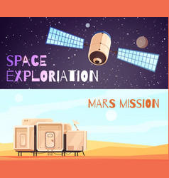 Conquest of space banners set vector