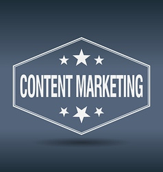 Content marketing hexagonal white vintage retro vector