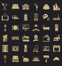 cozy house icons set simple style vector image