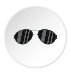 Dark glasses icon circle vector
