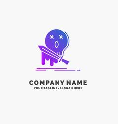death frag game kill sword purple business logo vector image