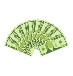 Dollar banknotes fan green currency cash notes vector