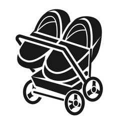 Double stroller icon simple style vector