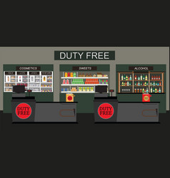 duty free store with counter cashier vector image