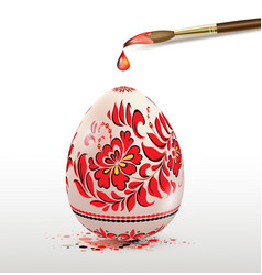 easter egg with red floral ornament vector image