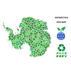 Ecology green collage antarctica map vector