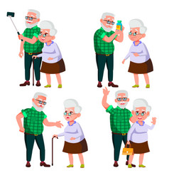 elderly couple set modern grandparents vector image