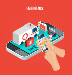 emergency isometric concept vector image