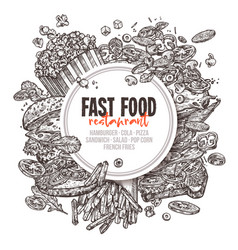 fast food background with round lable vector image