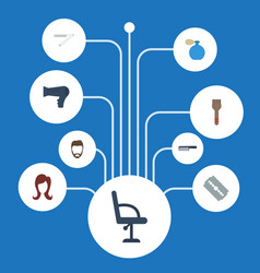 flat icons female razor elbow chair and other vector image