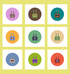 flat icons halloween set of monster concept on vector image