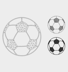 football ball mesh wire frame model and vector image