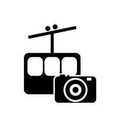 funicular and photographic camera icon vector image