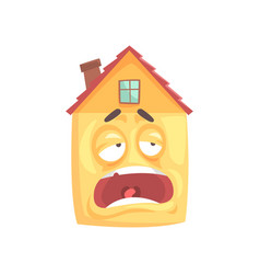 Funny tired sleepy house cartoon character funny vector