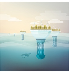 Futuristic eco friendly city vector