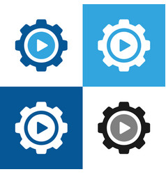 gear icon with play symbol vector image