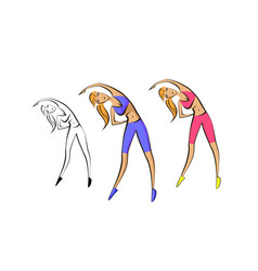 Girl is engaged in fitness helth emblem vector