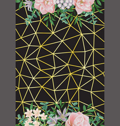 gold geometric background whit flowers vector image