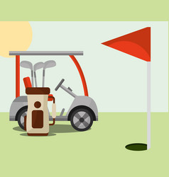 golf club bag red flag hole field vector image
