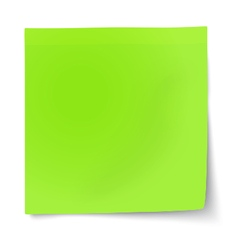 Green sticky note with turned up corner vector
