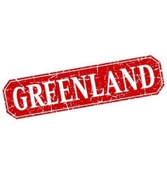 Greenland red square grunge retro style sign vector image