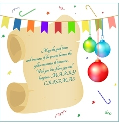 greeting card scroll Christmas balls vector image