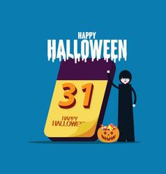 halloween calendar happy halloween celebration vector image