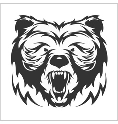 Head grizzly Brown Bear in tribal style vector