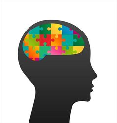 Human head made of puzzle vector image