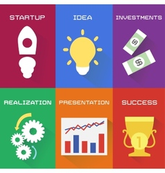 Icons of business process in flat style vector