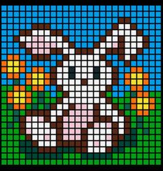 Image pixel rabbit in garden vector