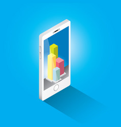 isometric smartphone with graph and charts vector image