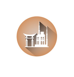 korea landmarks icon seoul gates and tower south vector image