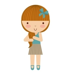 little cute girl isolated icon vector image