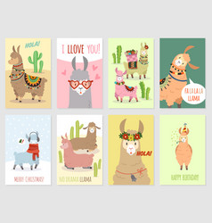 Llama cards baby llamas cute alpaca and cacti vector