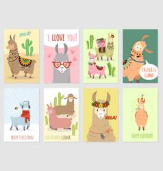 llama cards ballamas cute alpaca and cacti vector image