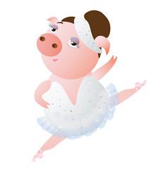 Lovely dancing piglet in a ballet tutu vector