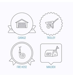 Mailbox garage and fire hose icons vector